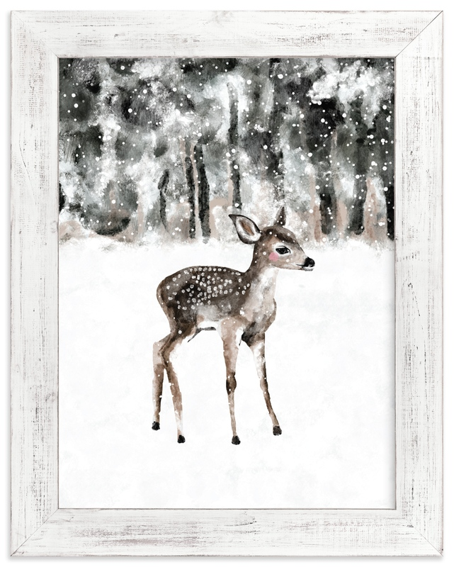 winter baby deer Nursery Art Print