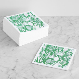 This is a green decorative paper napkin by Two if by Sea Studios called Tropical Leaves.