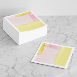 This is a yellow decorative paper napkin by Four Wet Feet Studio called Abstract Watercolor.