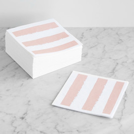 This is a pink decorative paper napkin by Lehan Veenker called Chunky Stripes.