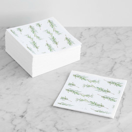 This is a green decorative paper napkin by Erin Deegan called Rosemary.