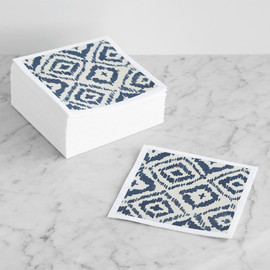 This is a blue decorative paper napkin by Alethea and Ruth called Painterly Ikat.