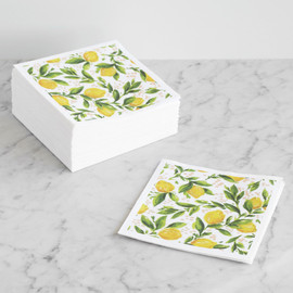 This is a yellow decorative paper napkin by Kirby Lee Smith called Lemon Grove.