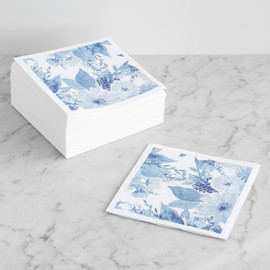This is a blue decorative paper napkin by Qing Ji called Bold Watercolor Floral.