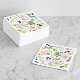 This is a pink decorative paper napkin by Yao Cheng Design called Watercolor Wreath in standard.