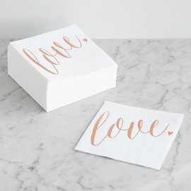 This is a rosegold decorative paper napkin by Melanie Severin called Charming Love.