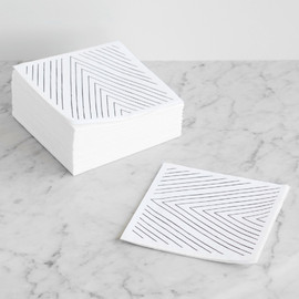 This is a black and white decorative paper napkin by Jen Florentine called Uneasy Stripes.