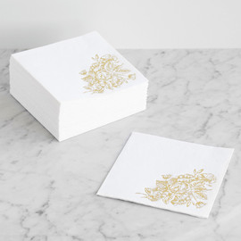 This is a gold decorative paper napkin by Smudge Design called Gilded Wildflowers.