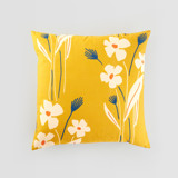 This is a yellow pillow cover by Alex Roda called Mustard bouquet.