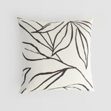This is a black and white pillow cover by Cass Loh called ink line leaves.