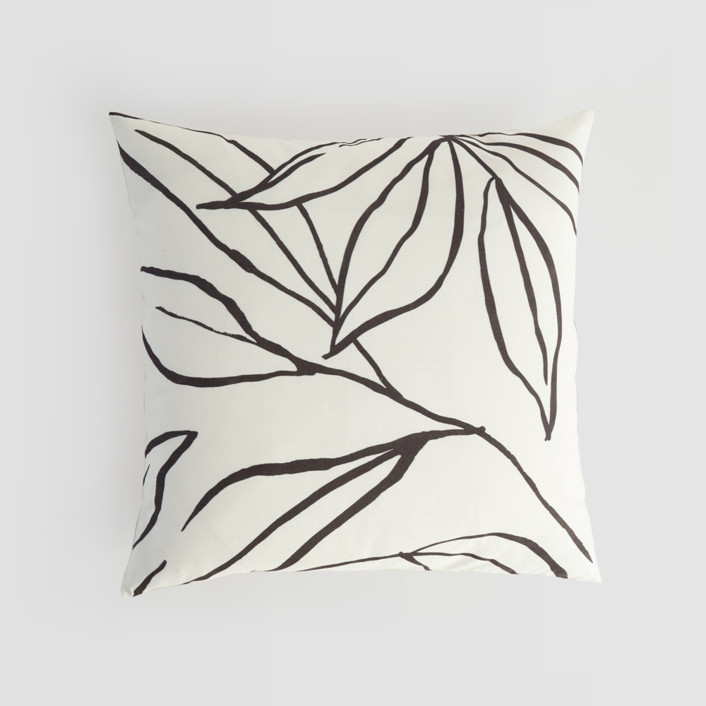 ink line leaves Natural Silk Pillow Cover