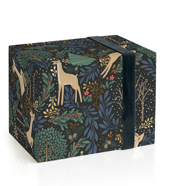 This is a black wrapping paper by Four Wet Feet Studio called Reindeer Forest.