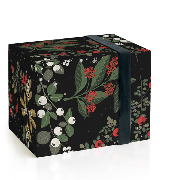 This is a black wrapping paper by Elena Wilken called Berry Fields.