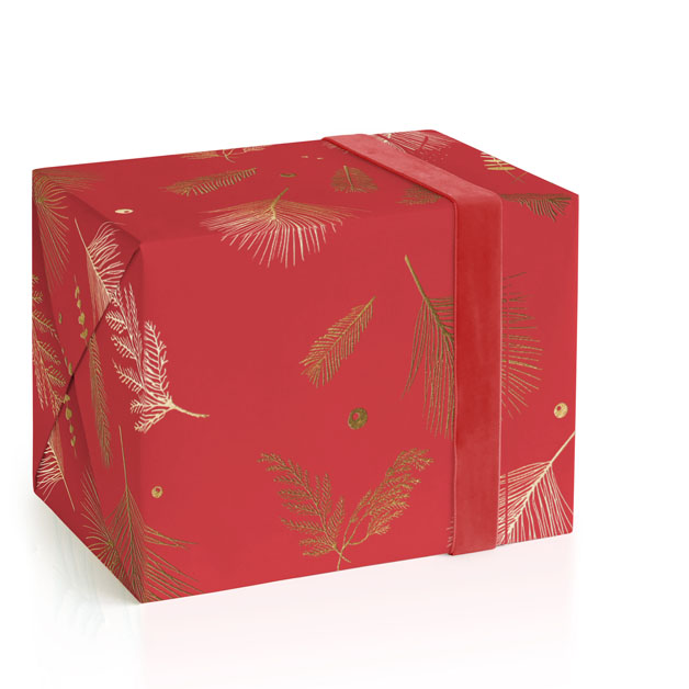 This is a red wrapping paper by Jan Shepherd called Floating Greenery.