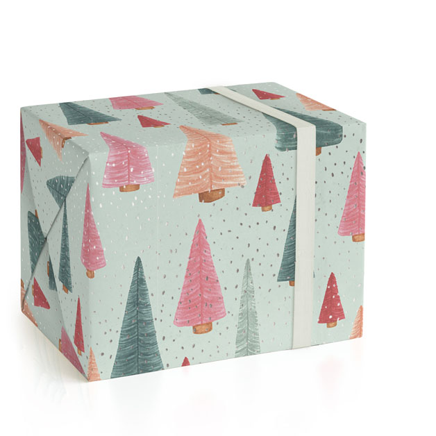 This is a green wrapping paper by Janet Hirata Stall called Bottle Brush Forest.