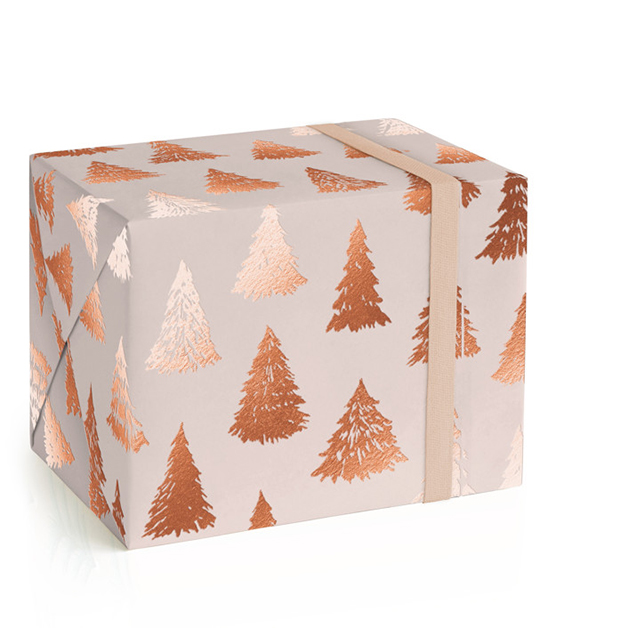 This is a pink wrapping paper by Rebecca Rueth called Gilded Forest.