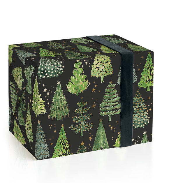 This is a green wrapping paper by Rosana Laiz Blursbyai called Decorated Christmas trees.