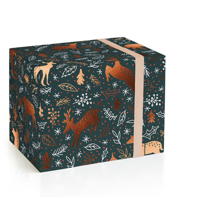 Happy Reindeers Foil-Pressed Wrapping Paper