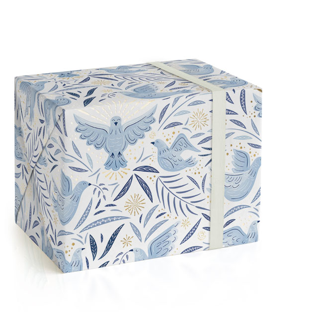This is a blue wrapping paper by Paper Sun Studio called Joyful Doves.