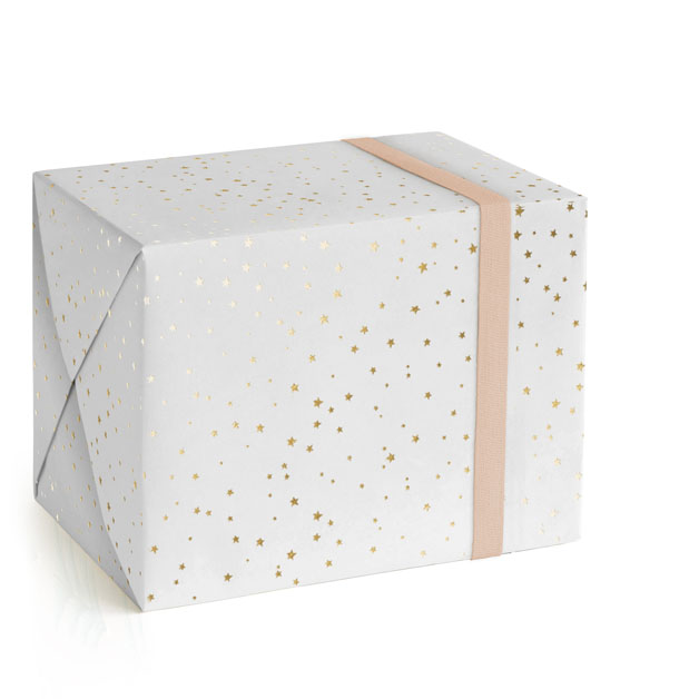 This is a white wrapping paper by Lori Wemple called Starry Celebration.