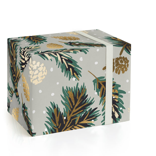 This is a green wrapping paper by Gina Grittner called Festive Branches.