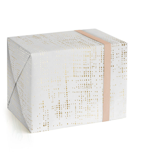 This is a white wrapping paper by Kate Ross called Shimmery Jute.