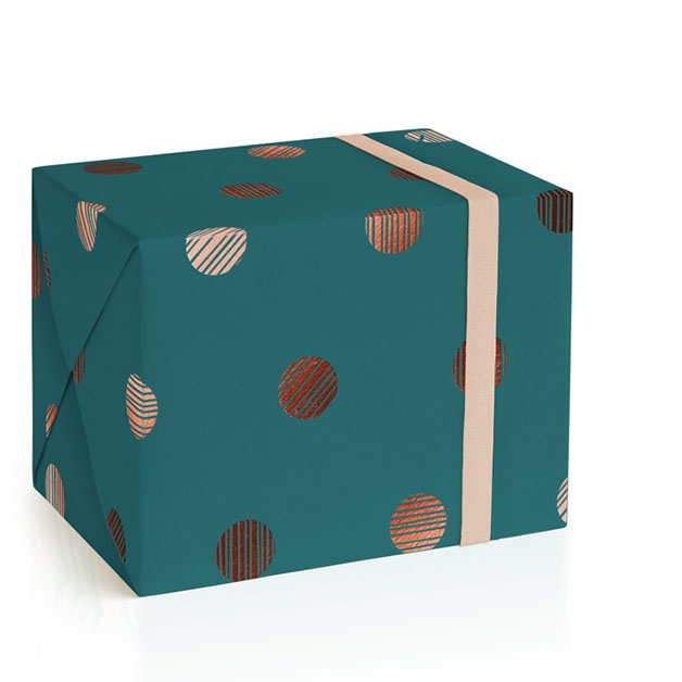 This is a blue wrapping paper by Liz Conley called Lined Dots.