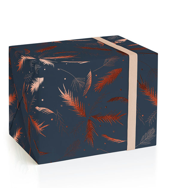 This is a green wrapping paper by Lizzie Bowman called Evergreen Sprigs.