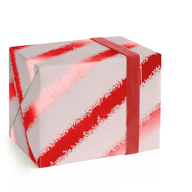 This is a pink wrapping paper by Hooray Creative called Shimmering Candy Cane.