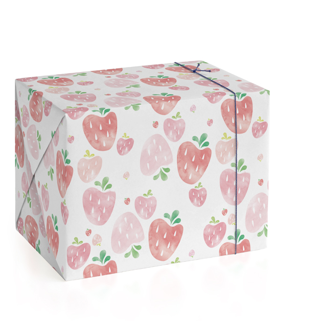 This is a pink wrapping paper by Shirley Lin Schneider called Strawberry Fields.