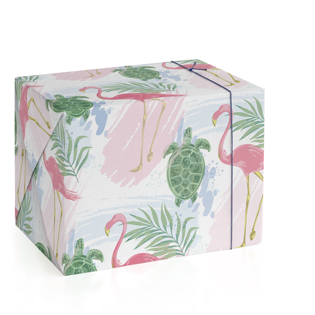 This is a colorful wrapping paper by Lauren Hughes called Tropical Print.