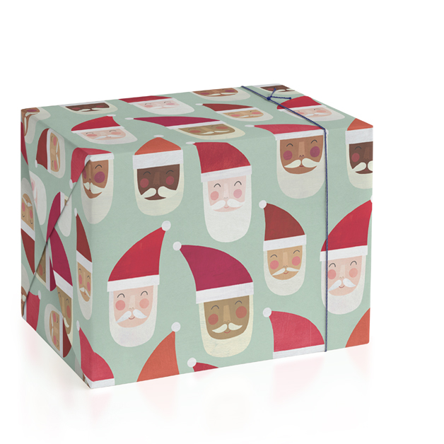 This is a brown wrapping paper by melanie mikecz called Multi-Cultural Santas.