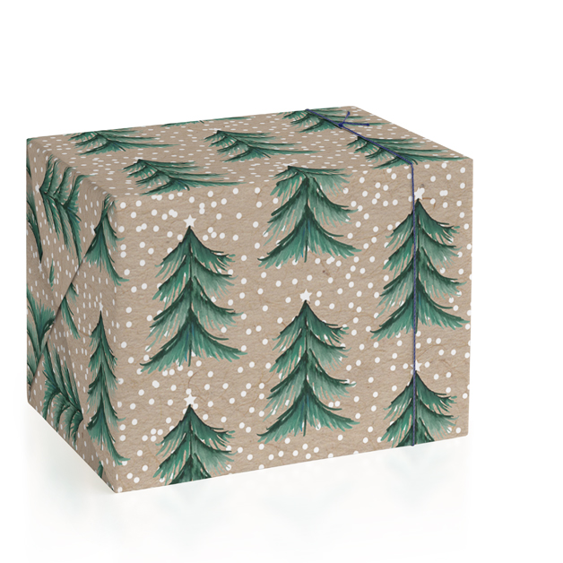 This is a brown wrapping paper by Baumbirdy called Evergreen Forest.