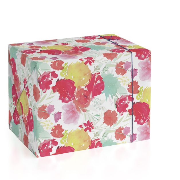 This is a red wrapping paper by Lori Wemple called Cheery Garden.