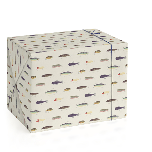 This is a beige wrapping paper by Jessie Burch called Vintage Fishing Lures.