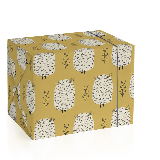 This is a yellow wrapping paper by Jaqui Falkenheim called Baa Baa Cream Sheep.