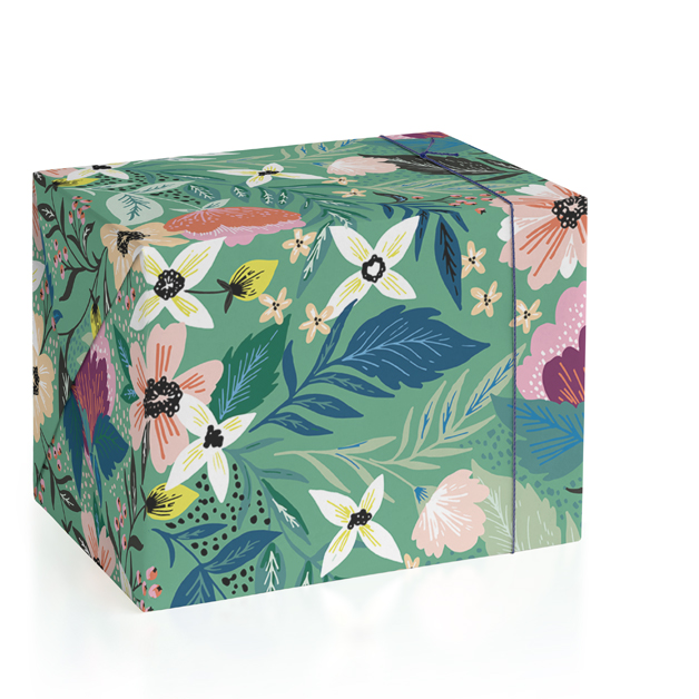 This is a colorful wrapping paper by Alethea and Ruth called Jungle Florals.