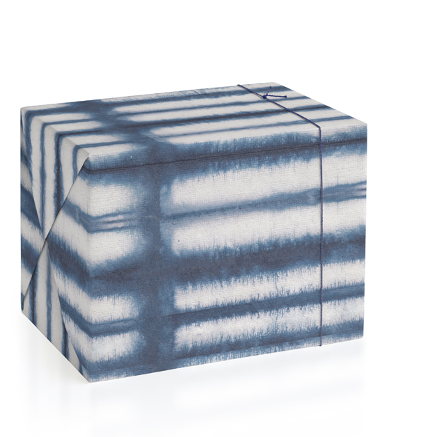 This is a blue wrapping paper by Creo Study called Shibori lines.