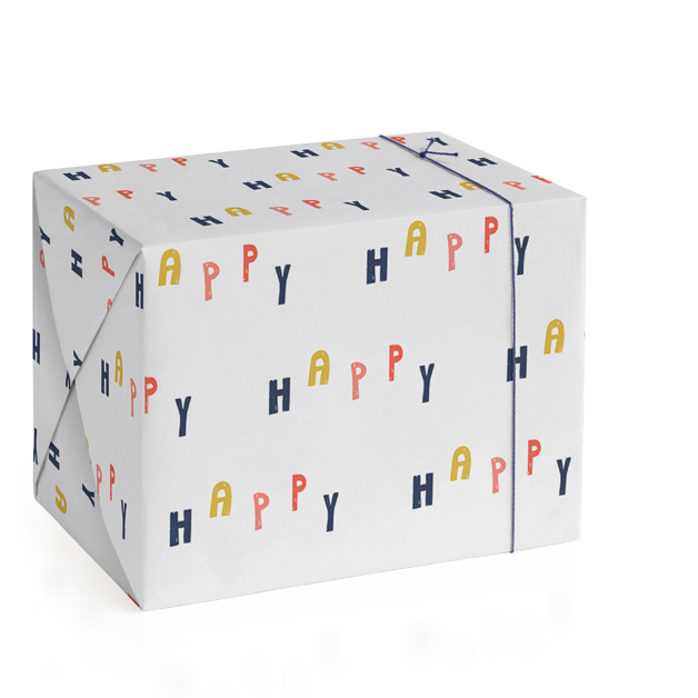 This is a colorful wrapping paper by Blustery August called HAPPY.