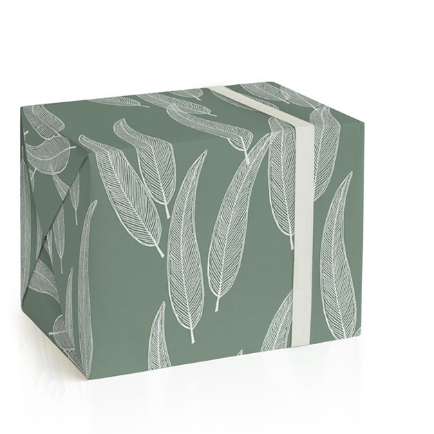 This is a green wrapping paper by Katharine Watson called Sketched Willow.