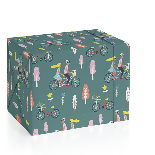 This is a pink wrapping paper by Chi Hey Lee called bicycle couple.