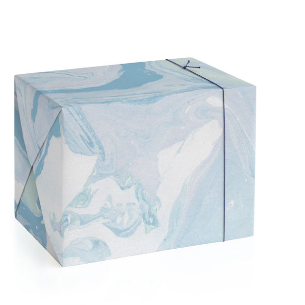 This is a blue wrapping paper by Liz Conley called Soft Marble.