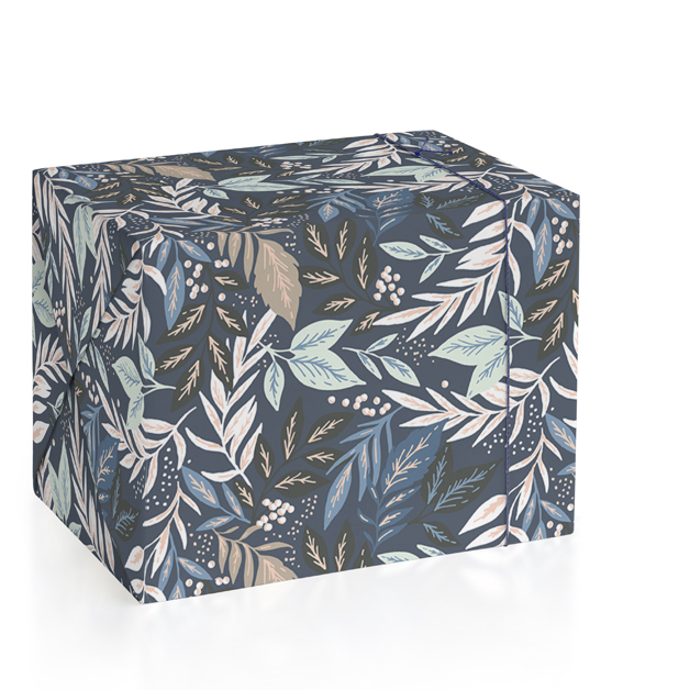 This is a blue wrapping paper by Alethea and Ruth called Hidden Leaves.