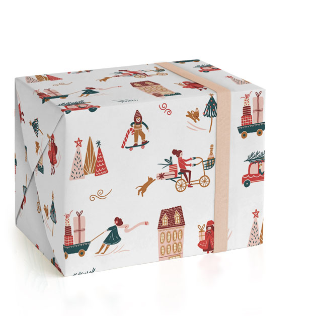 This is a colorful wrapping paper by Vivian Yiwing called Holiday Season.