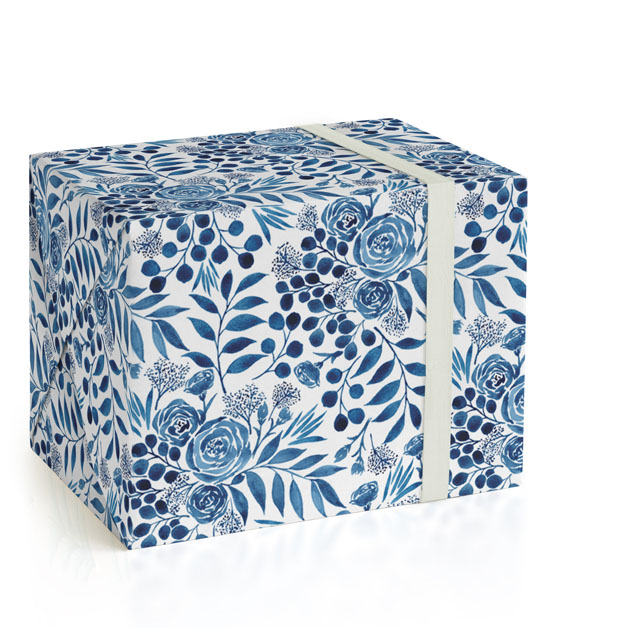 This is a blue wrapping paper by Yaling Hou Suzuki called Blue Floral Boquest.