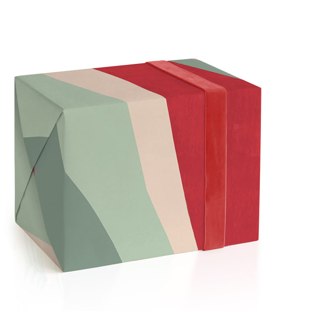 This is a colorful wrapping paper by Baumbirdy called holiday wave.