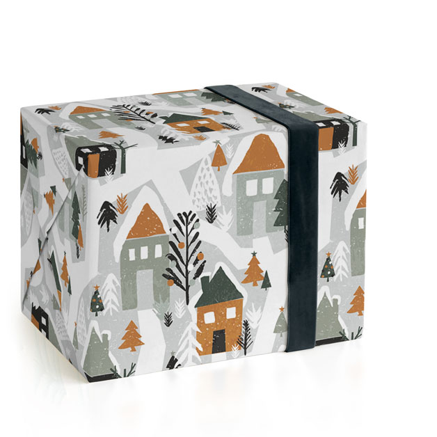 This is a colorful wrapping paper by Iveta Angelova called Festive Village.