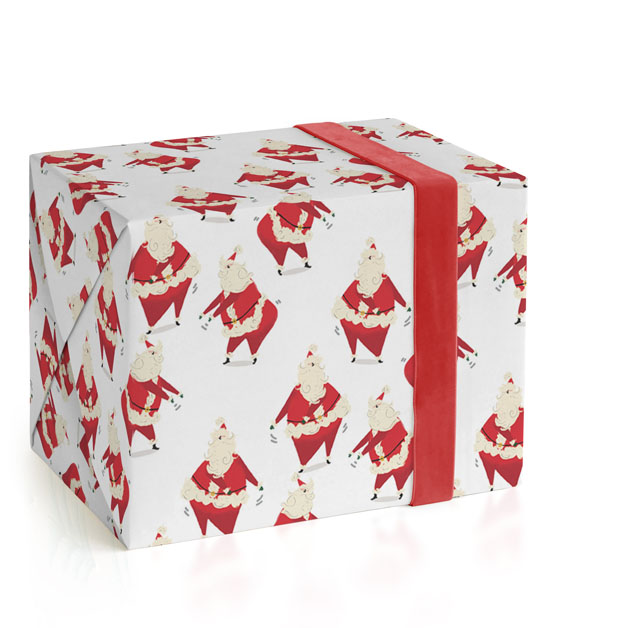 This is a white wrapping paper by Baumbirdy called Santa Knows How to Floss.