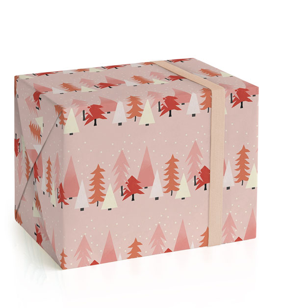 This is a pink wrapping paper by Morgan Kendall called tree lot.