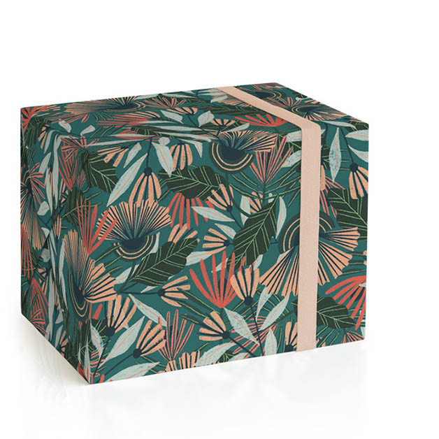 This is a green wrapping paper by Jenna Freimuth called Terrace Notes.